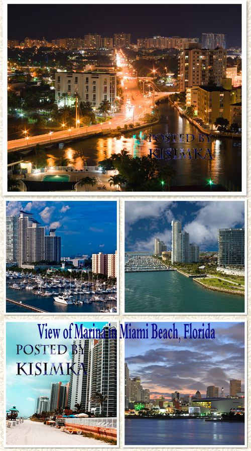 Stock Photo: View of Marina in Miami Beach, Florida