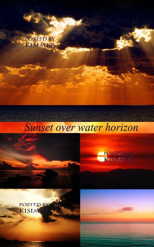 Stock Photo: Sunset over water horizon