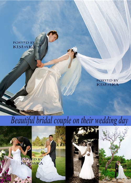 Stock Photo: Beautiful bridal couple on their wedding day