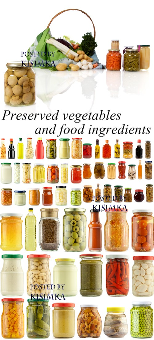 Stock Photo: Preserved vegetables and food ingredients