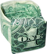 Dollar Bill Ring With Dime