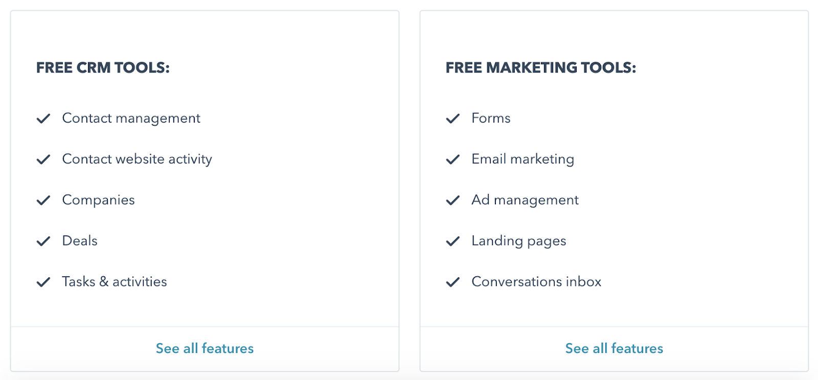 HubSpot CRM and marketing pricing
