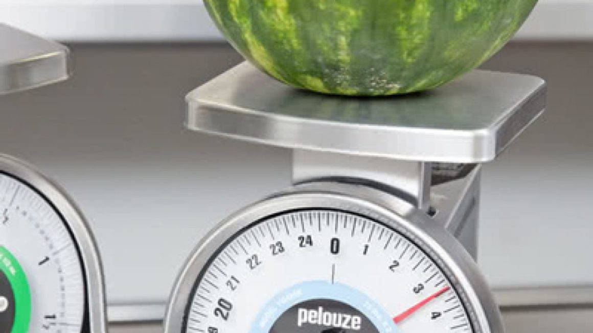 Heavy watermelon on a scale