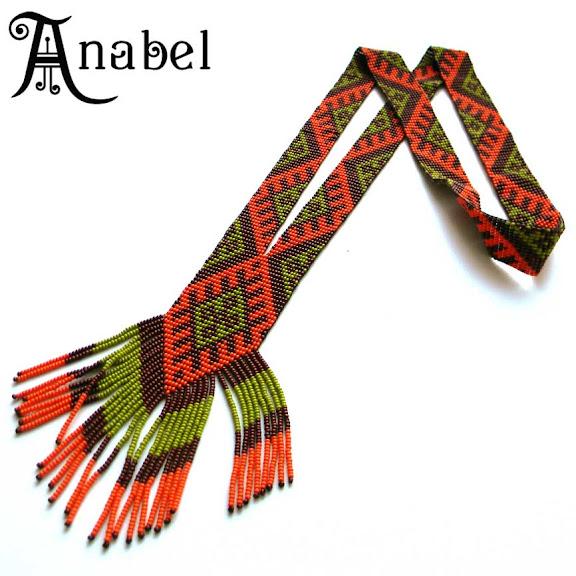 купить этническое украшение из бисера гердан (гайтан) Anabel