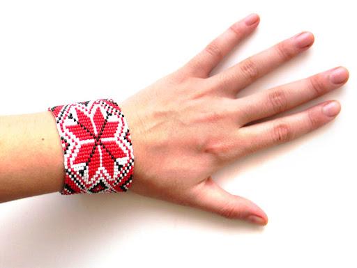 купить заказать этническое украшение из бисера - браслет