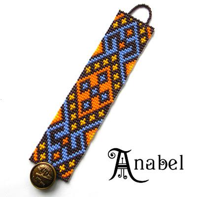 яркий широкий браслет из бисера этнический Anabel