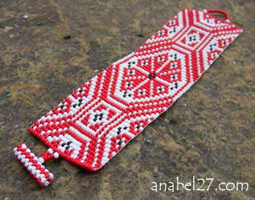 браслет этнический из бисера Anabel со славянским орнаментом украина купить