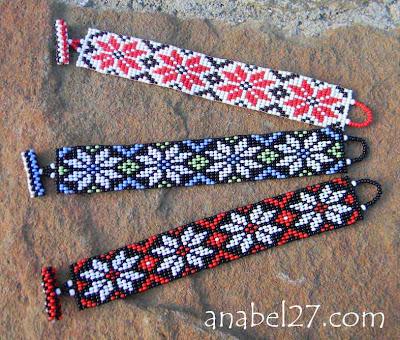 браслеты из бисера Anabel этнические летние цветочные орнамент
