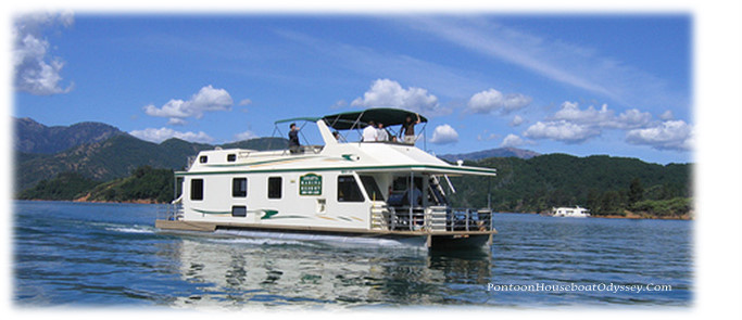 """Friends and family out enjoying a cruise on their pontoon house boat on a beautiful summer day"