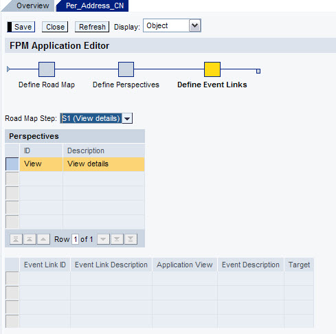 FPM Define Events for View details screen