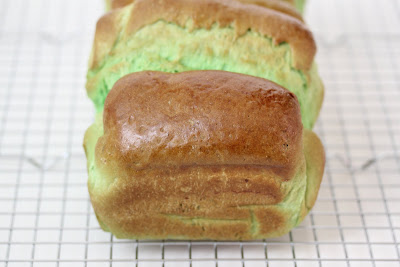 a close-up photo of pandan bread loaf