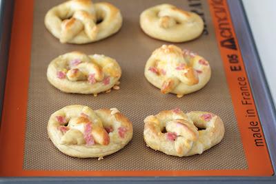 photo of pretzels on a baking sheet