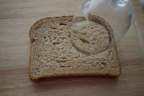 photo showing how to use a glass to cut the bread