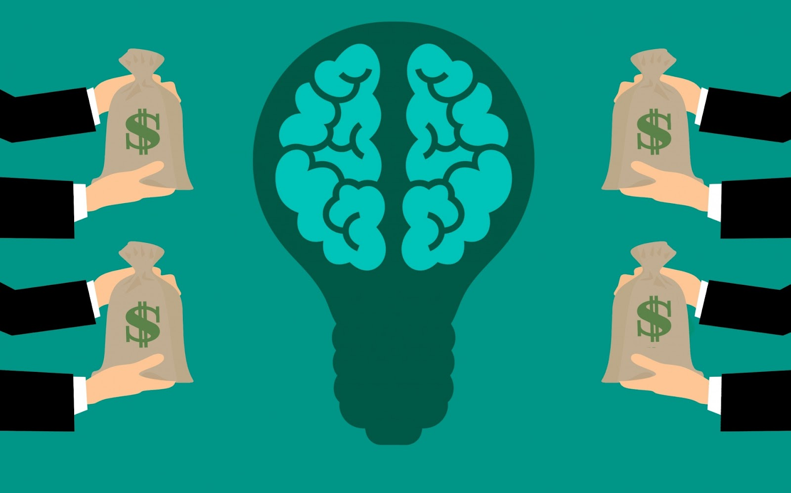 A cartoon light bulb with a brain is at the centre of the image and there are two pairs of hands on its left and right side, each holding a bag of money