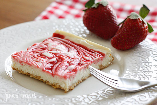 Strawberry Swirl Cheesecake – A low fat cheesecake swirled with strawberry jam on a graham cracker crust.