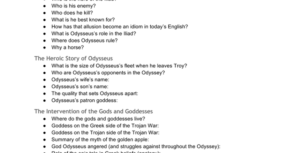 analytical essay on the odyssey