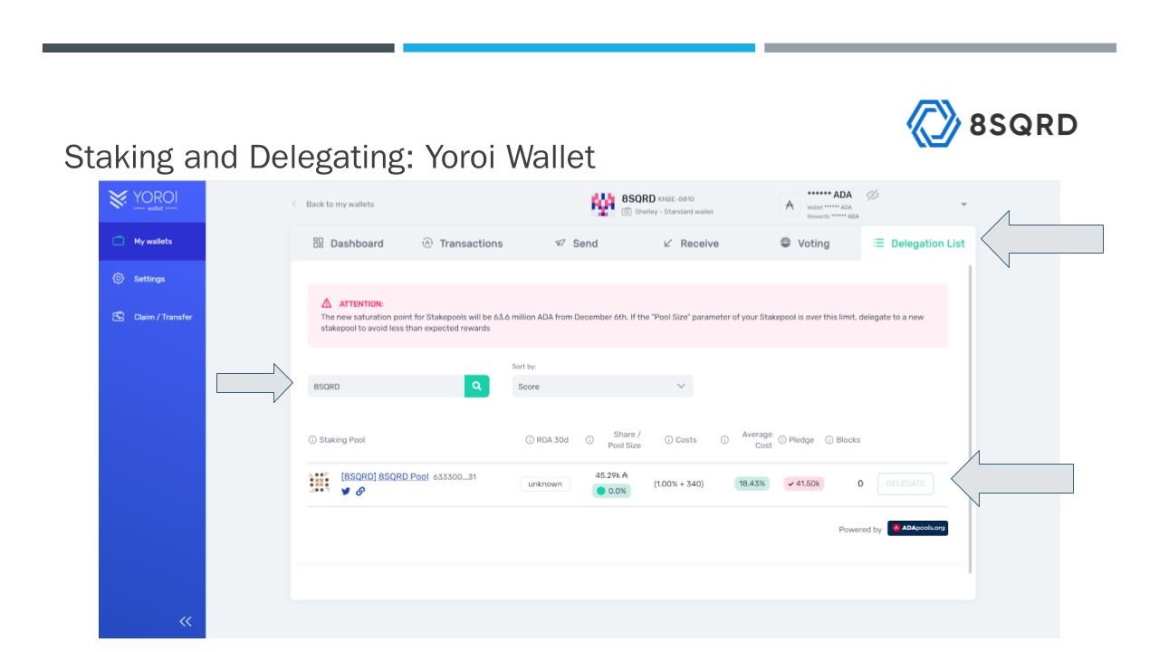 Staking and delegating using Yoroi wallet