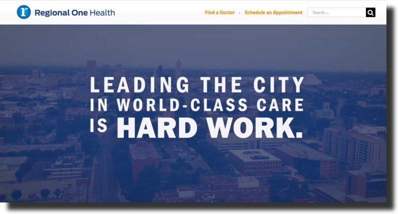 Regional One Health medical website design