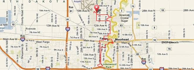 Fargo Half Marathon Route