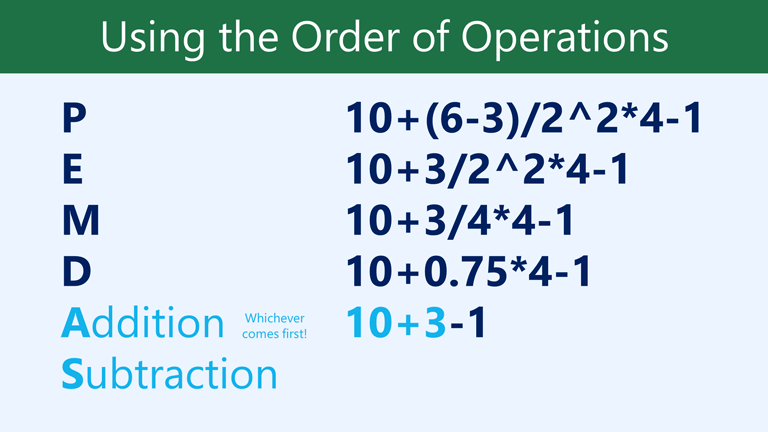 AS addition subtraction, whichever comes first: 10+3-1