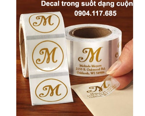 in decal trong dạng cuộn