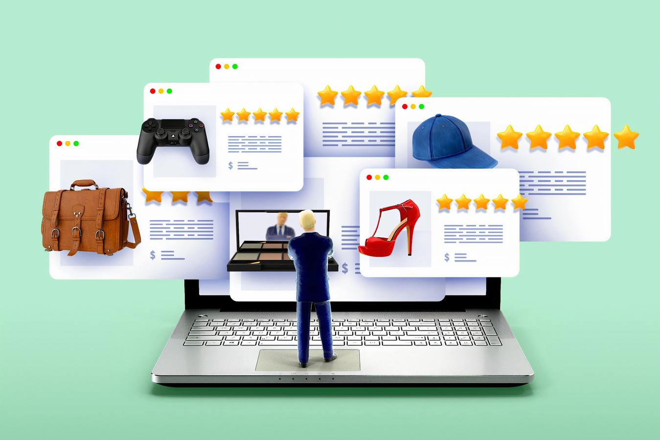 Een illustratie van een webshop en zijn recensies