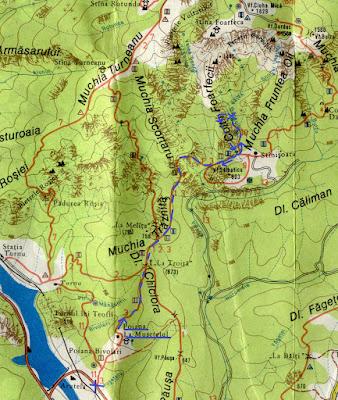fragment harta Muntii Cozia - traseu Poiana La Musetelul - Cascada Gardului