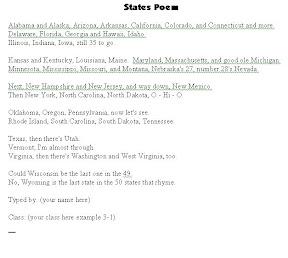 Grade 3 50 States Rhyme