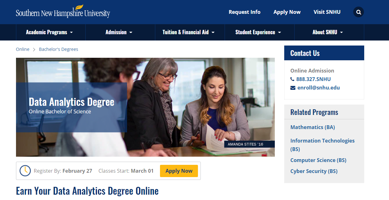 Online Bachelor of Science in Data Analytics [Southern New Hampshire University]