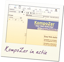 KompoZer, gratis applicatie om websites mee te maken.