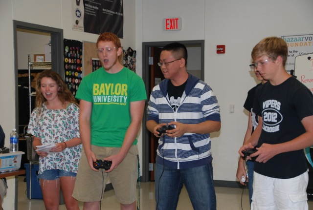 ViperBots practice their driving skills and strategy during a spirited competition round.