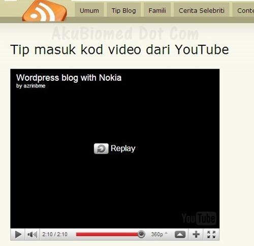 Tip blog main video yang dipilih sahaja
