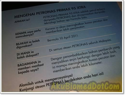Info mengenai Petronas Primax95 Xtra