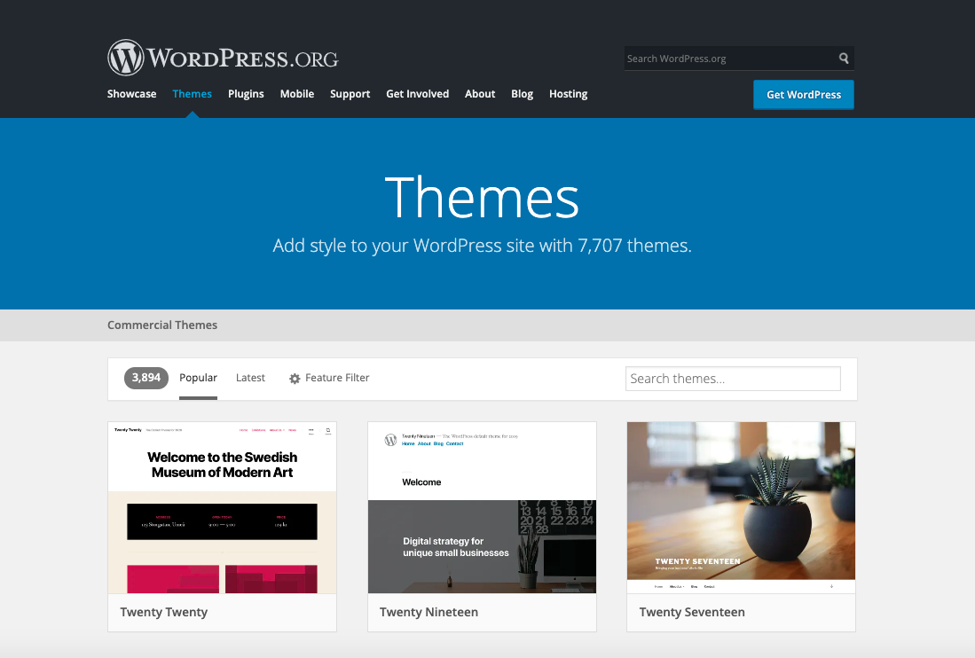 WordPress's website themes