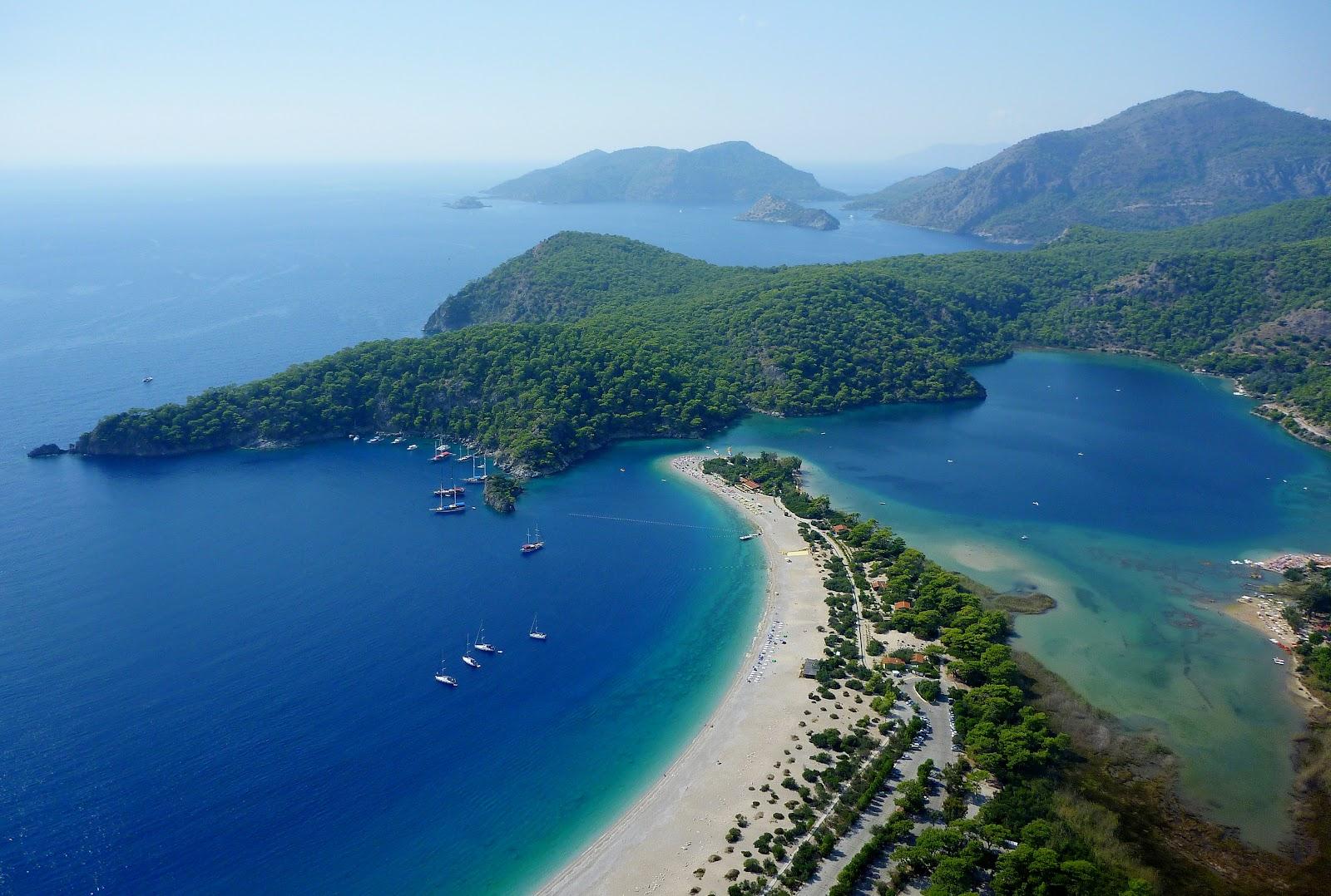 oludeniz blue lagoon aerial view turkey turquoise sea sandy beach turkish riviera