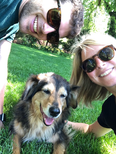 Founders of LocalDawgs Ben Tantillo and Sarah Tantillo with Wolfie