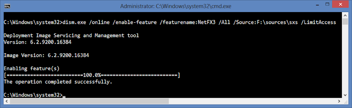 instalasi .net 3.5 melalui command prompt (admin) di Windows 8 atau 8.1