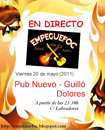 Cartel actuación en el Nuevo Guilló de Dolores (Alicante) para el viernes 20 de mayo de 2011