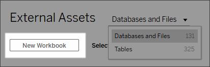 New Workbook button on External Assets tab