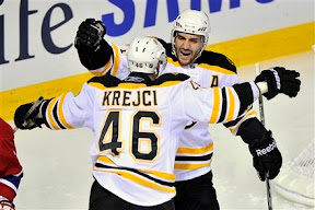 Patrice Bergeron and David Krejci celebrate Krejci's goal