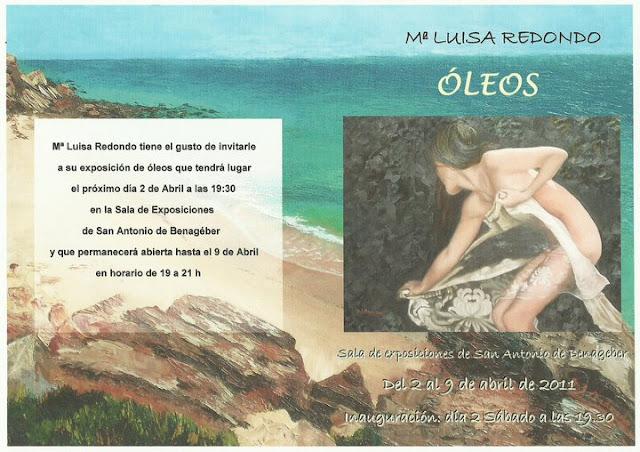 Invitación a la inauguración de la exposición de óleos de Mª Luisa Redondo