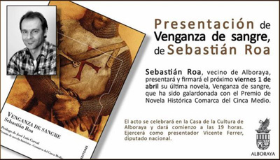 """Presentación de """"Venganza de sangre"""" de Sebastián Roa, en Alboraya"""