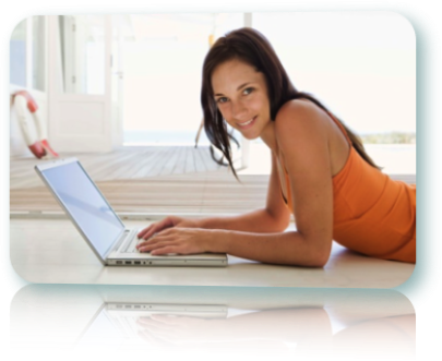 A woman applying for instant loans online.