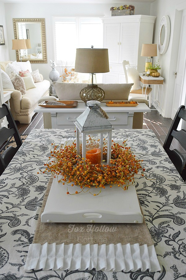 Fall centerpiece with danish candles