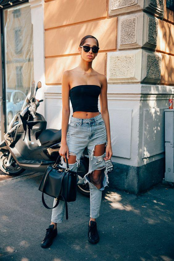 Casual Summer Outfit Ideas, strapless top with jeans