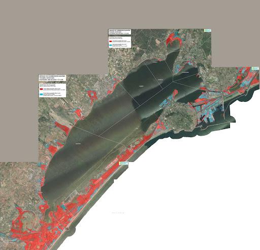 La carte d'un bassin de Thau sous les eaux