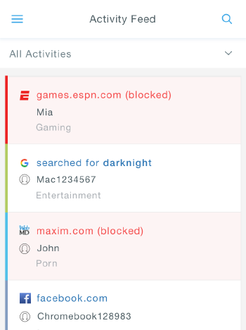 Screenshot of sample Activity Feed