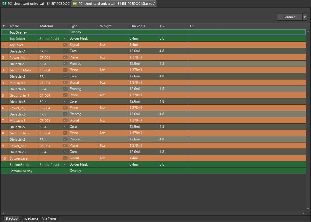 Layer stack manager in Altium Designer