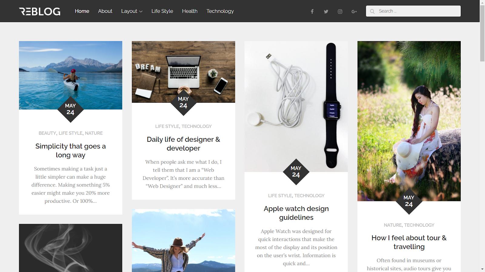 Reblog Masonry WordPress Themes