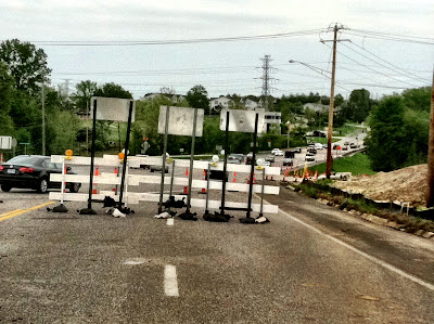 Construction zone traffic detour road photo